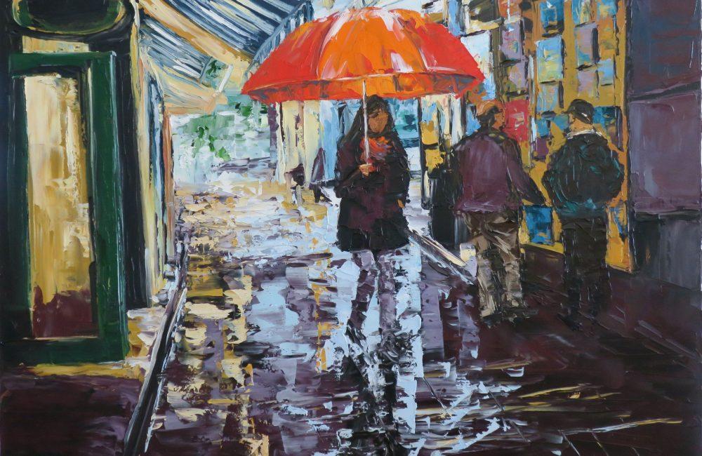 """Toile à l'huile 24""""x30"""" parapluies rue Québec marie-france lauzier"""