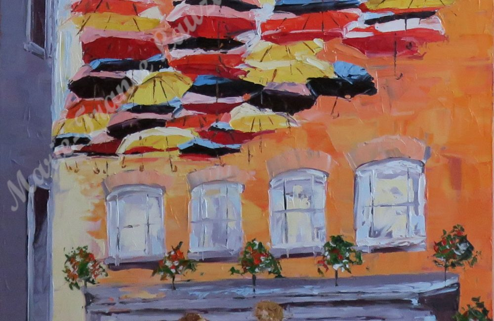 """Toile à l'huile 36""""x24"""" rue de Québec parapluies marie-france lauzier"""