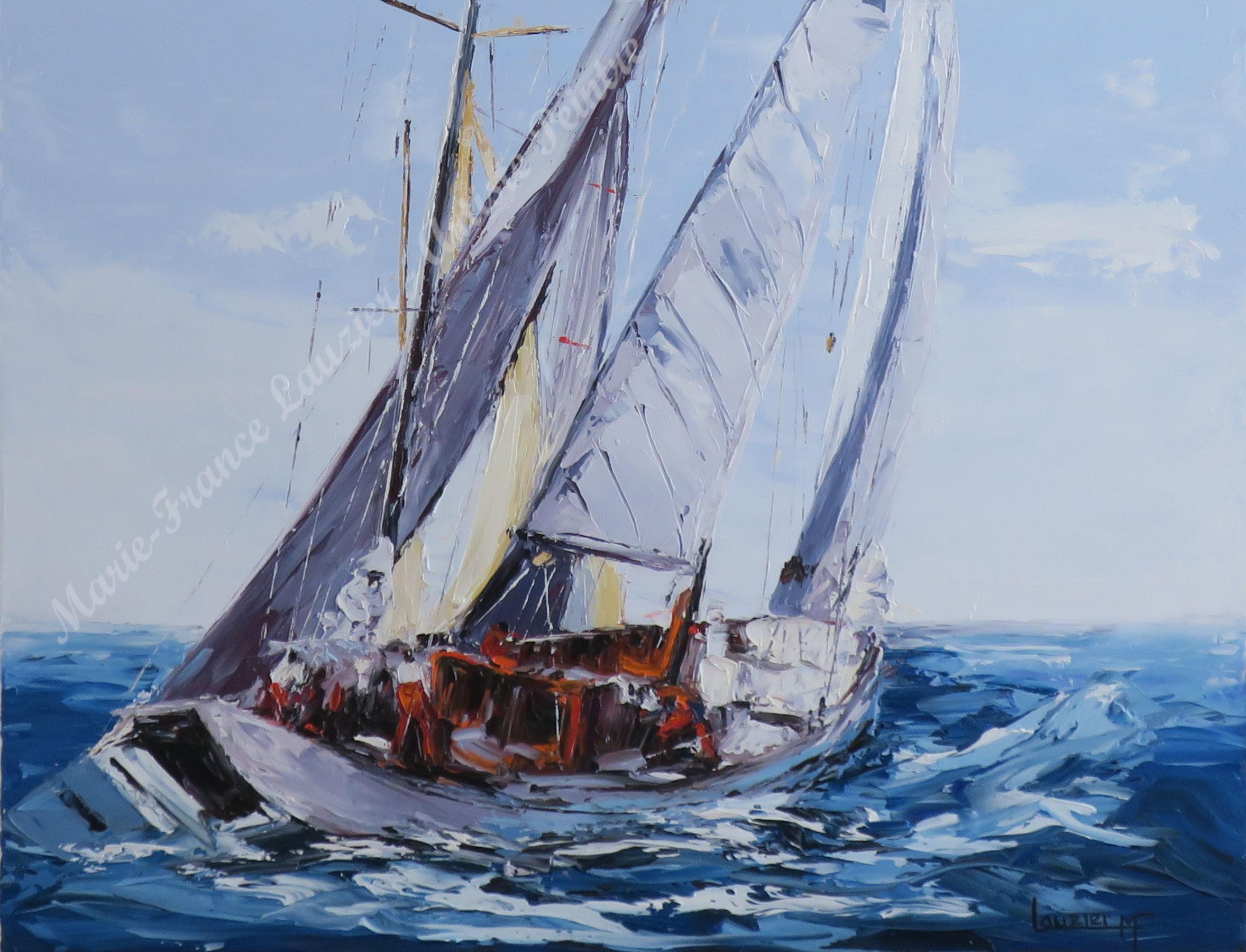 Toile à l'huile voilier marie-france lauzier