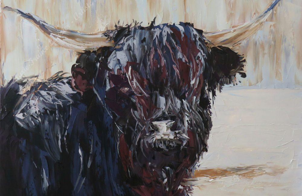 Toile à l'huile vache écossaise marie-france lauzier