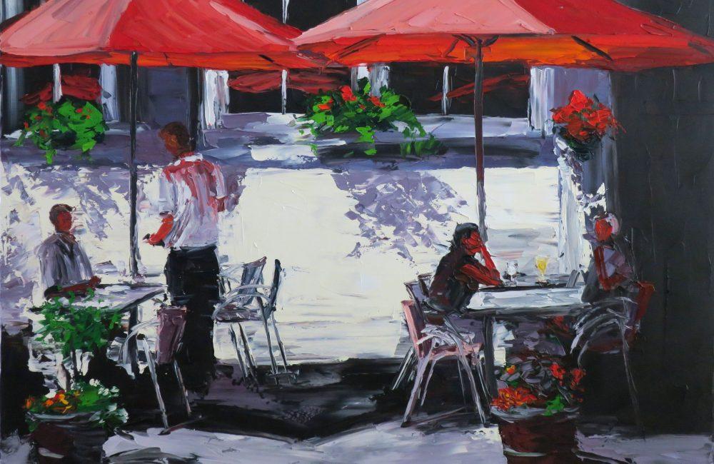 """Toile à l'huile 24""""x30"""" scène restaurant extérieur marie-france lauzier"""
