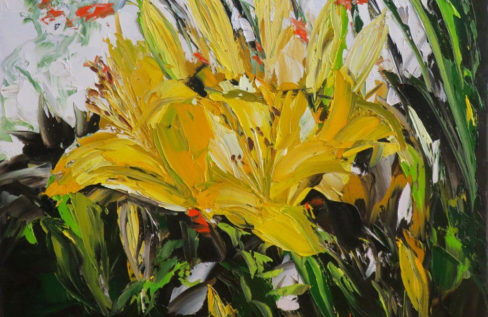 """Toile à l'huile 16""""x20"""" fleurs jaunes marie-france lauzier"""