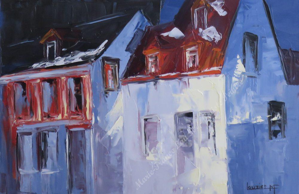 Toile huile Ville de Québec inspirée de la maison des canadiens marie-france lauzier