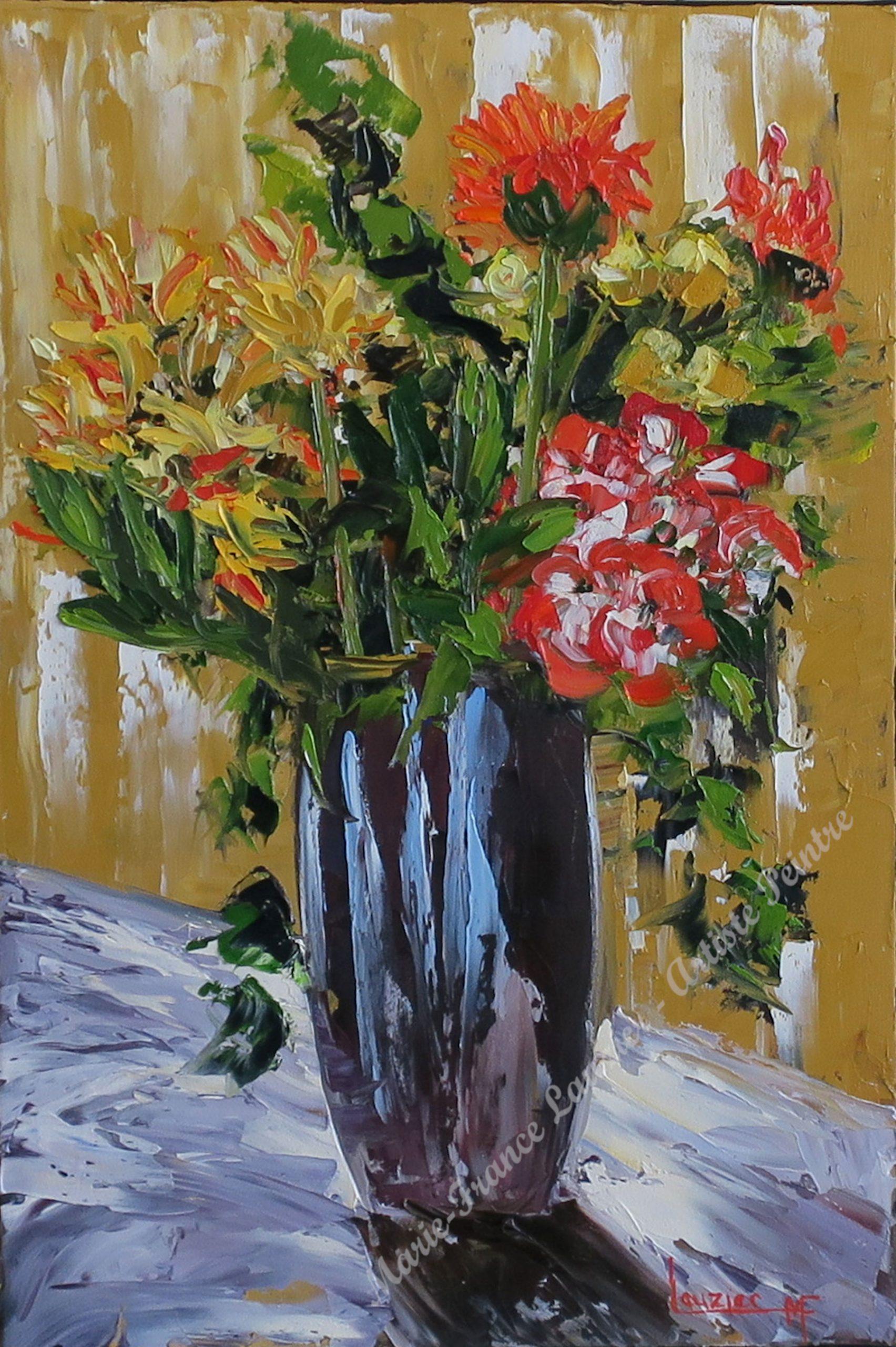 """Toile à l'huile 24""""x16"""" vase et bouquet fleurs marie-france lauzier"""