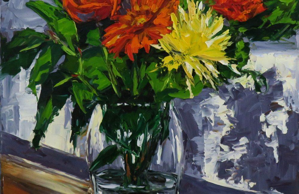 """Toile à l'huile 20""""x16"""" bouquet de fleurs rouge et jaune marie-france lauzier"""