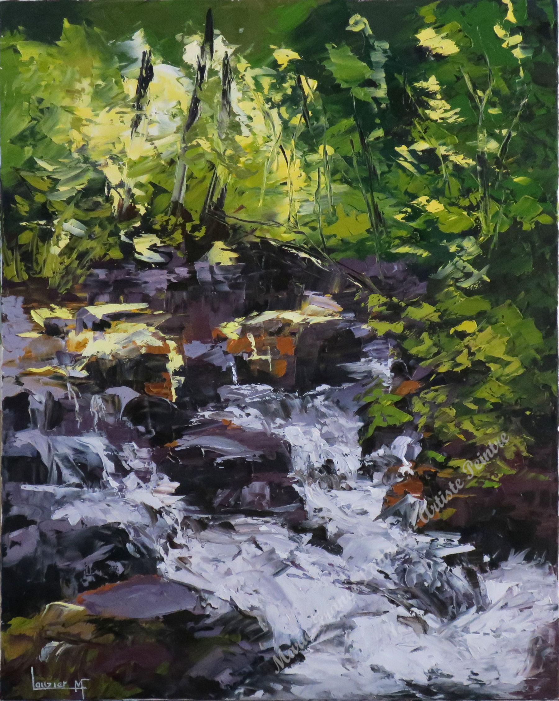 """Huile sur toile 24""""x30"""" ruisseau cascade sous-bois marie-france lauzier"""