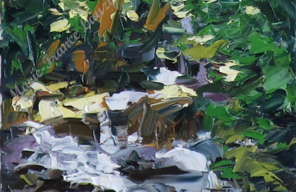 Toile à l'huile ruisseau et sous-bois marie-france lauzier