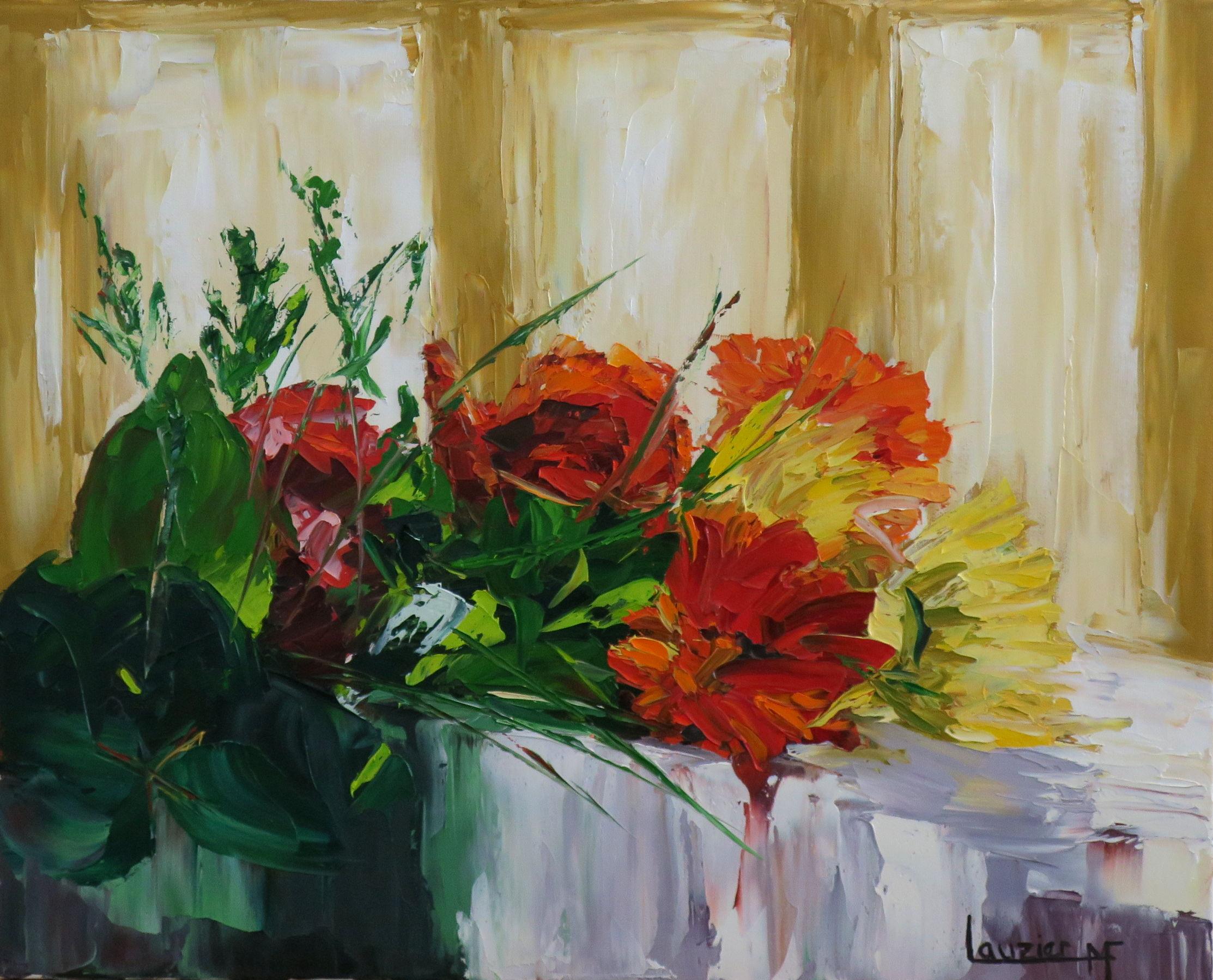 """Toile à l'huile 16""""x20"""" bouquet fleurs rouge sur table marie-france lauzier"""