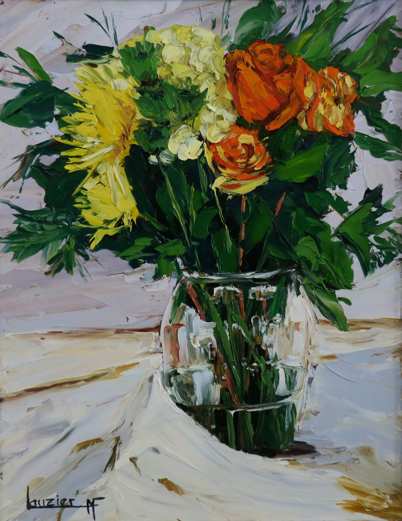 Toile à l'huile vase et fleurs rouge et jaune marie-france lauzier