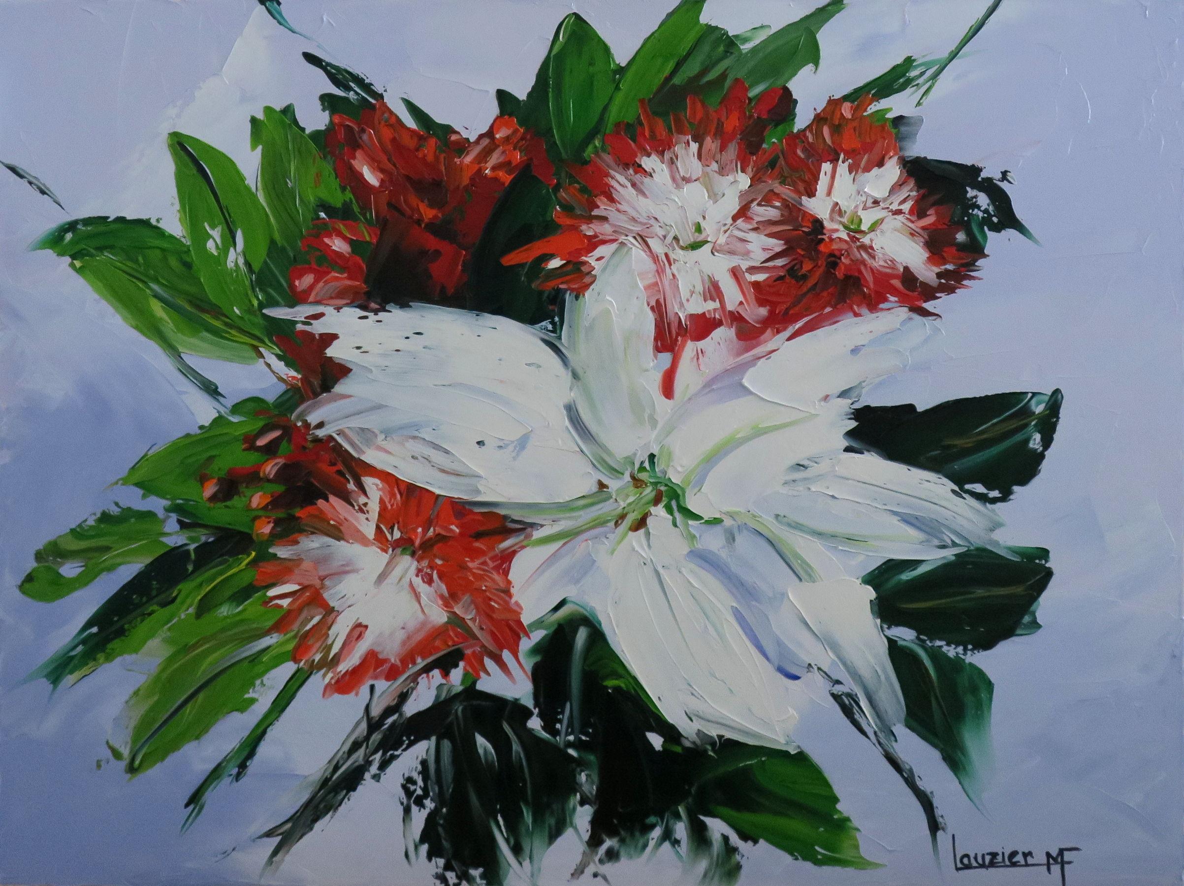 """Toile à l'huile 18""""x24"""" bouquet de fleurs marie-france lauzier"""