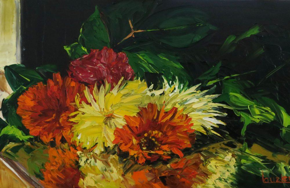 """Toile à l'huile 15""""x30"""" bouquet de fleurs rouge et jaune marie-france lauzier"""