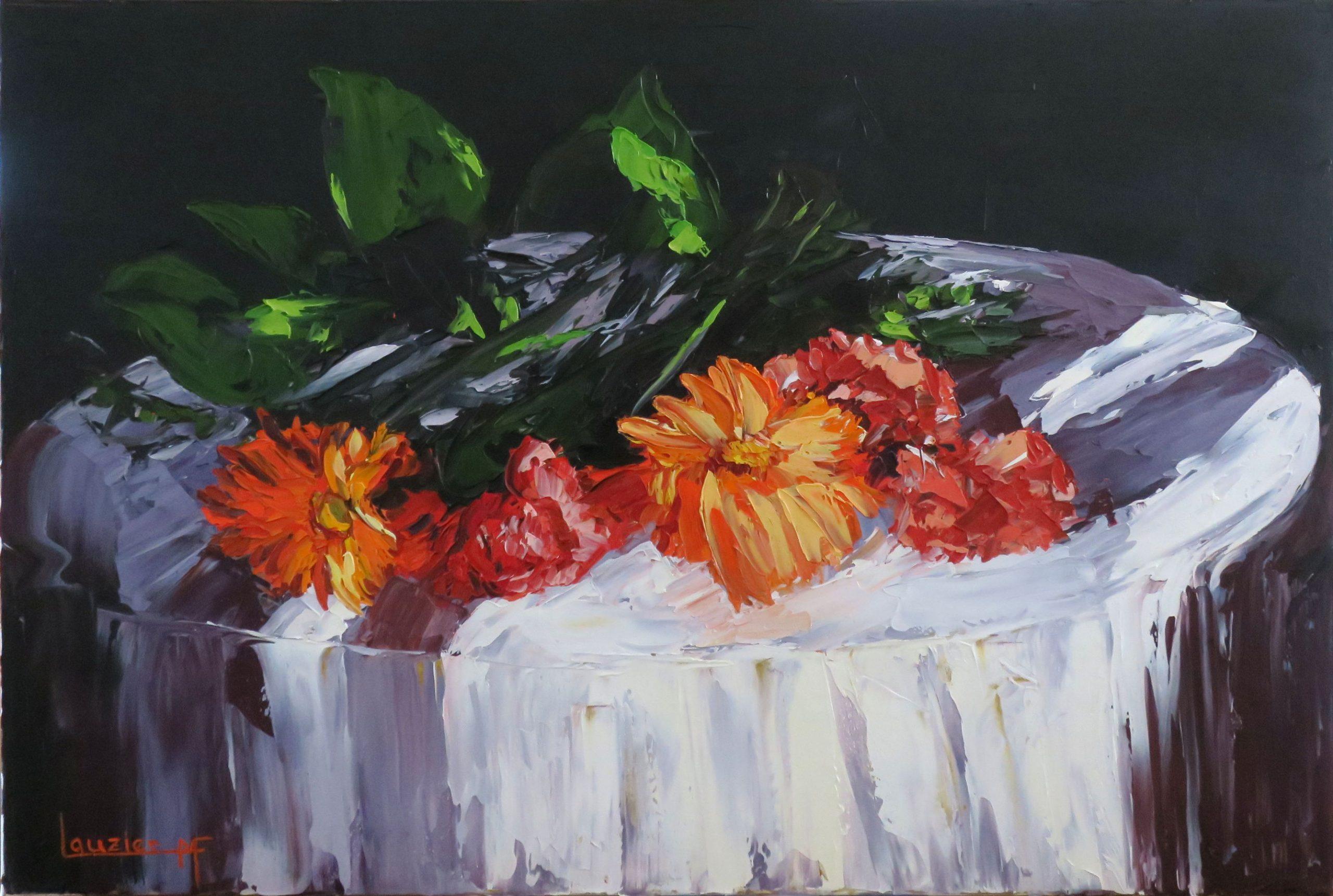 """Toile à l'huile 20""""x30"""" fleurs rouge sur une table marie-france lauzier"""