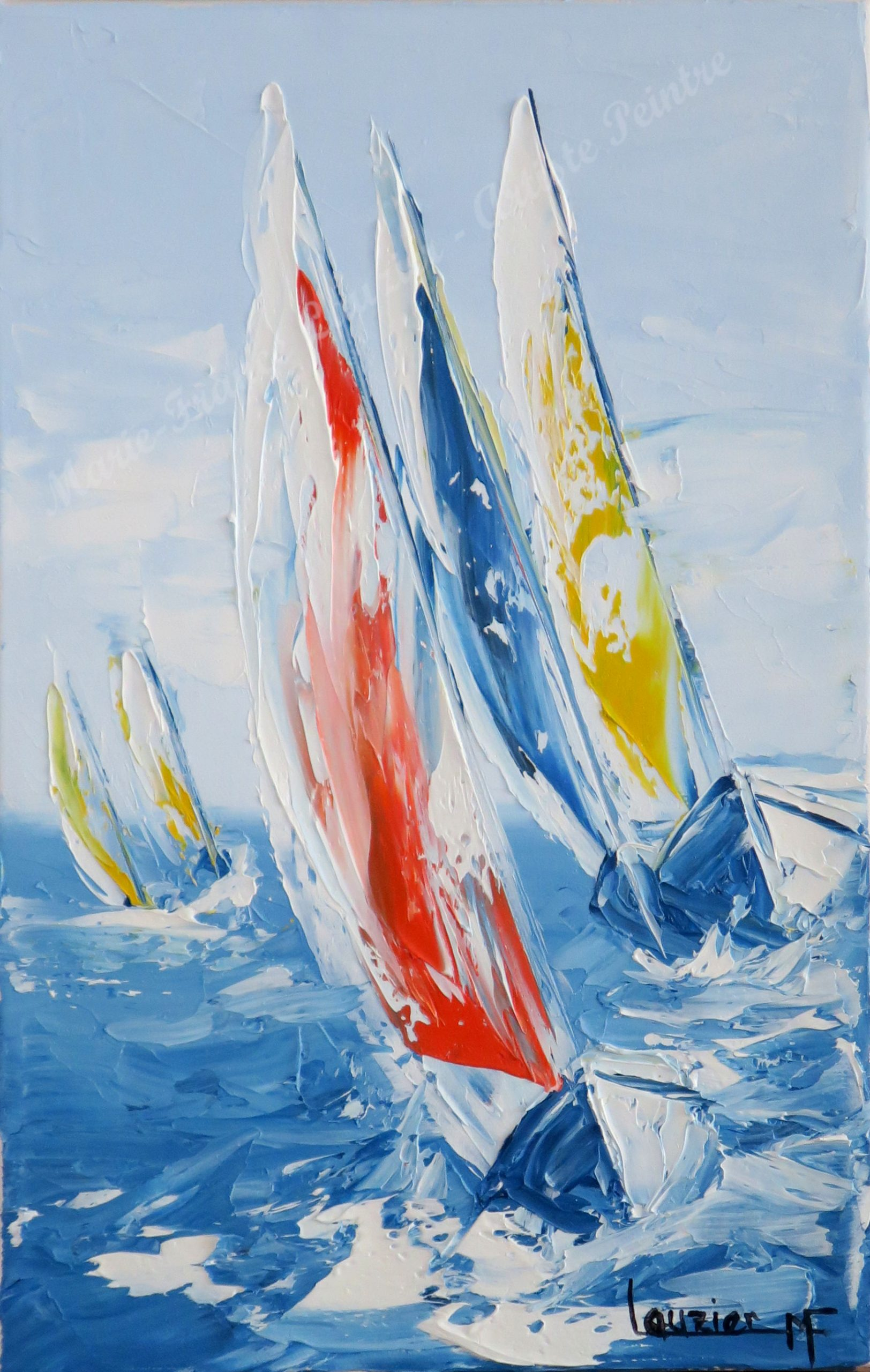 """Huile sur toile 12""""x8"""" Voiliers stylisés glissant sur l'eau Travail à la spatule par Marie-France Lauzier"""