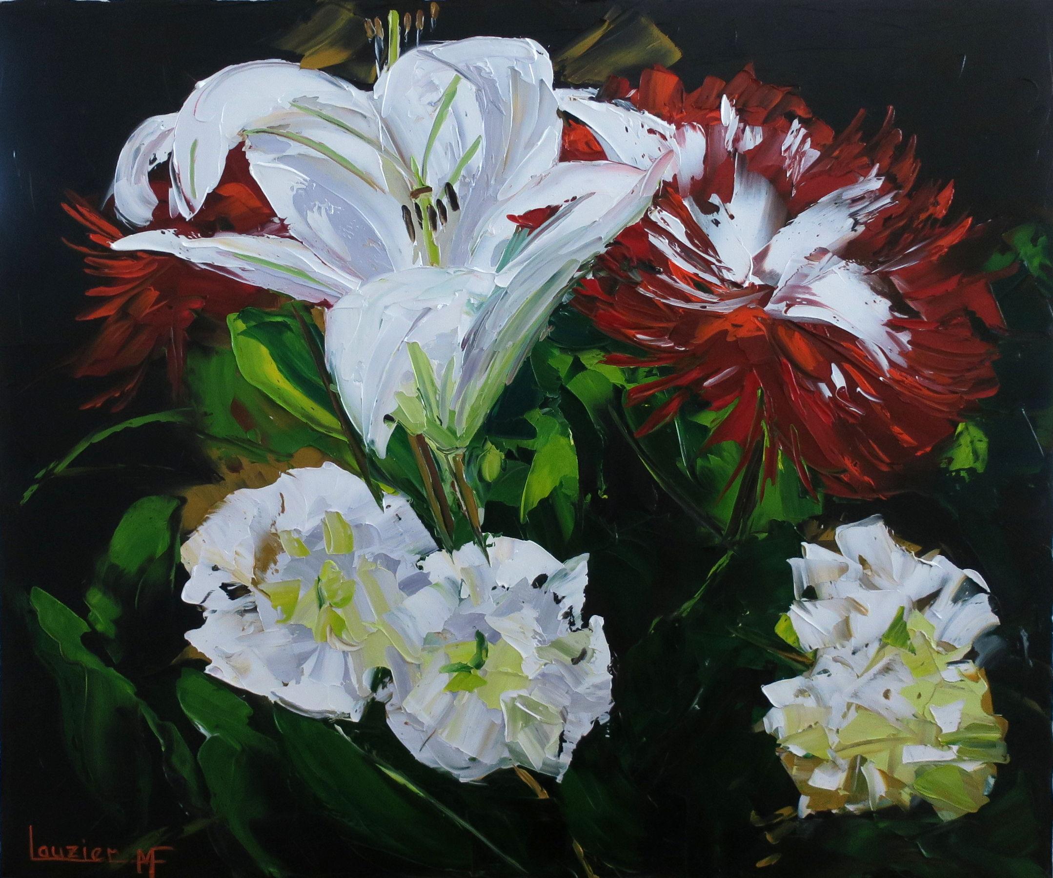 """Toile à l'huile 20""""x24"""" bouquet fleurs rouge et blanc marie-france lauzier"""