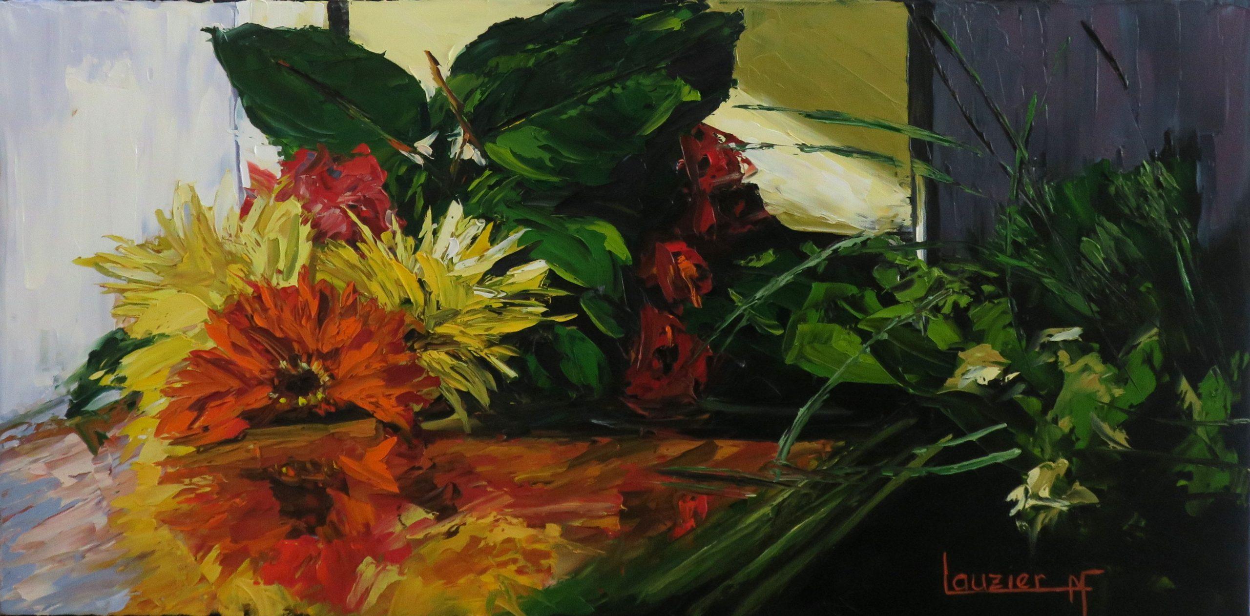 """Toile à l'huile 15""""x30"""" bouquet rouge et jaune marie-france lauzier"""