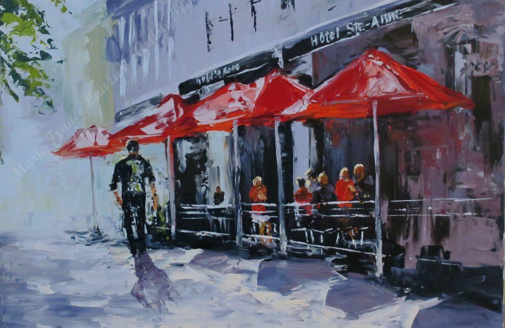 """HÔTEL STE-ANNE, huile sur toile, 22"""" x 28"""", Marie-France Lauzier, Personnes assises sous des parasols rouges par une belle journée d'été Ville de Québec"""