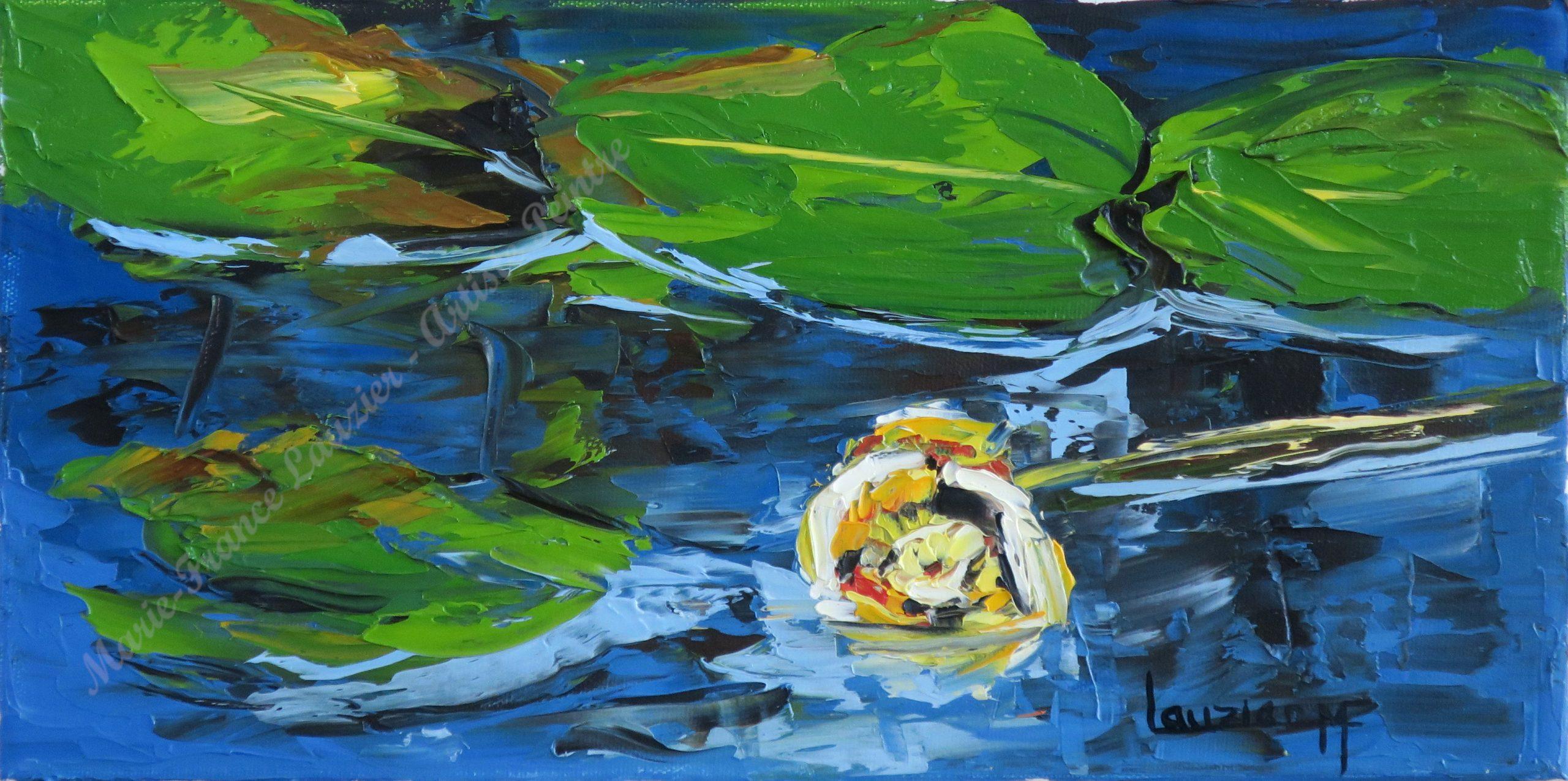 """La Contemplative - Huile sur toile - 8""""x16"""" Marie-France Lauzier - Nénuphar jaune flottant sur un lac"""