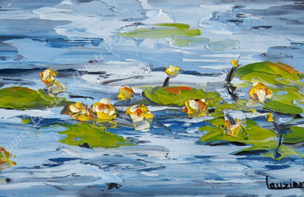 """La chorale - Huile sur toile 6""""x12"""" Marie-France Lauzier Nénuphars jaunes flottants sur le lac"""