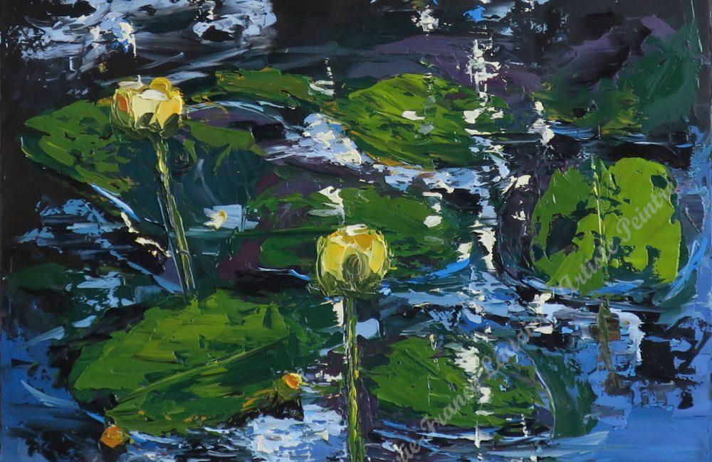 """Huile sur toile 16""""x20"""" nénuphars et lac marie-france lauzier"""