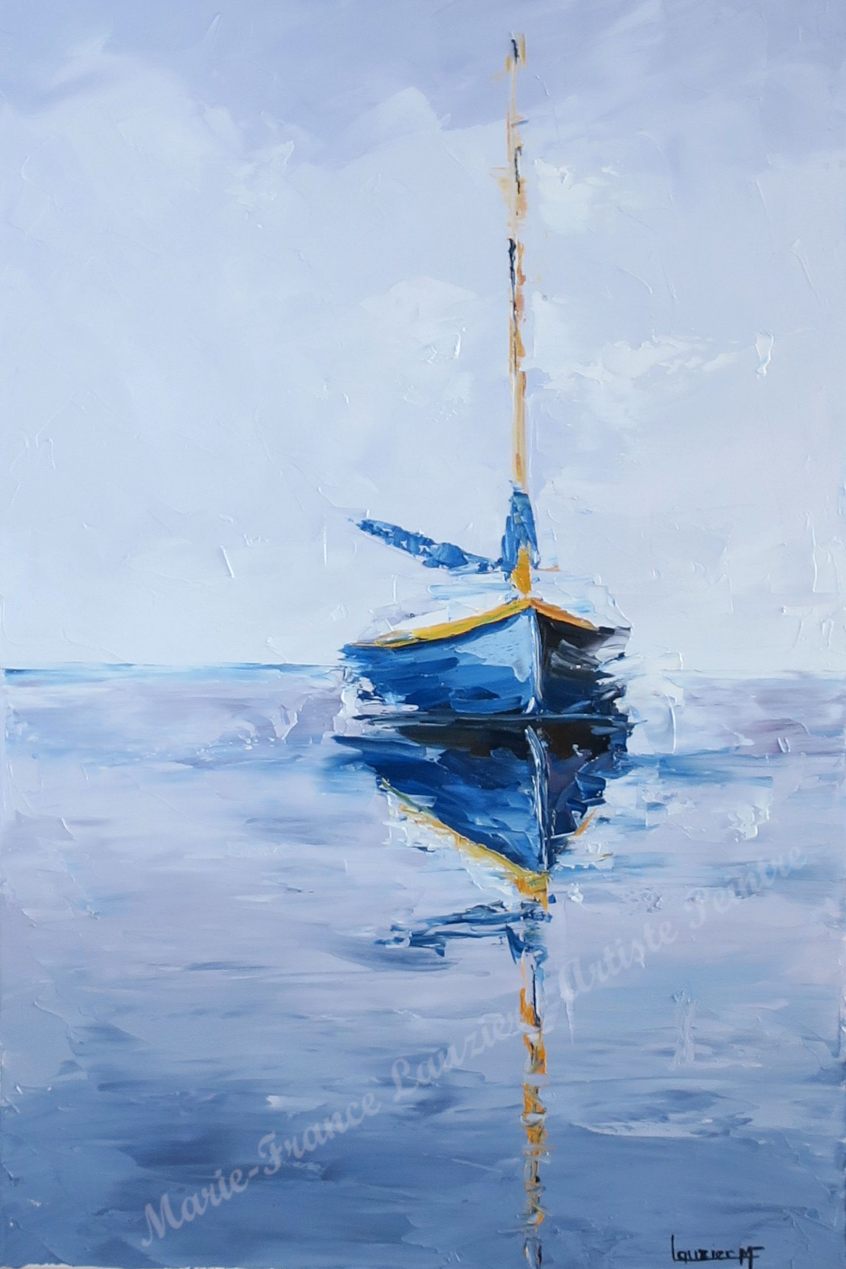 """Mirage _ Huile sur toile 24""""x16"""" _ Marie-France Lauzier Petit voilier bleu se rpojetant dans l'eau"""