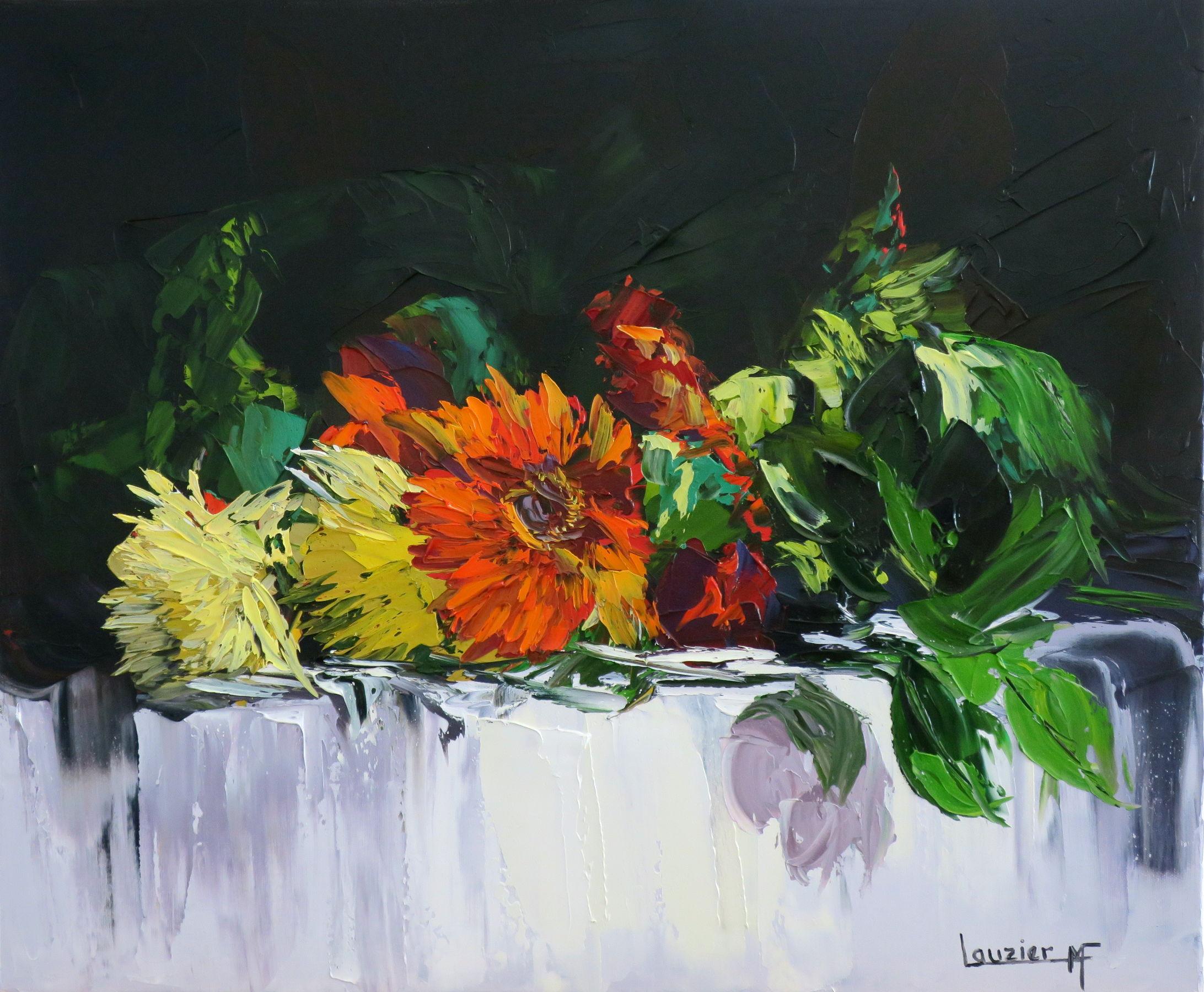 """Toile à l'huile 20""""x24"""" bouquet fleurs rouge et jaune sur table marie-france lauzier"""