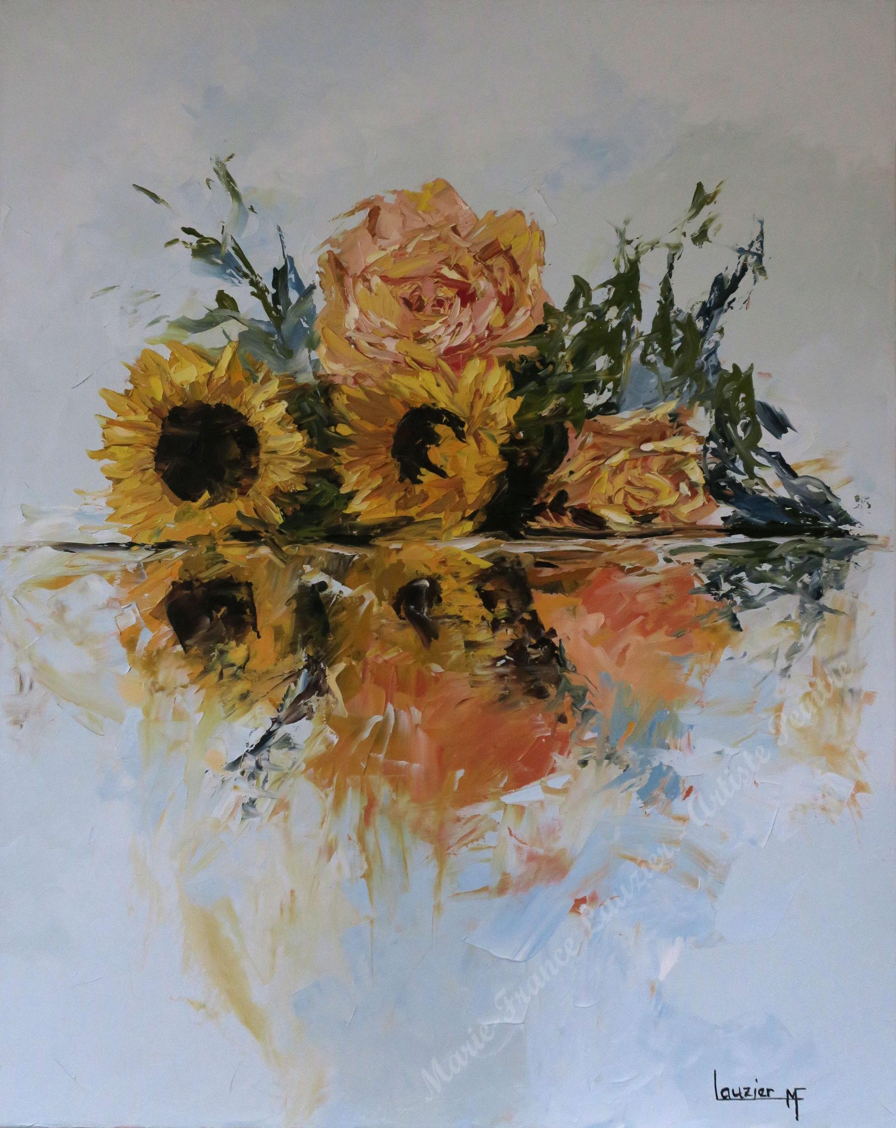 Roses et tournesols - Huile sur toile 30x24 - Bouquet de fleurs roses et tournesolsMarie-France Lauzier