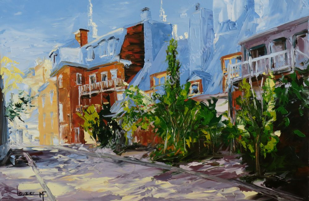 """Toile à l'huile 20"""" x30"""" rue Monseigneur de Laval Québec marie-france lauzier"""