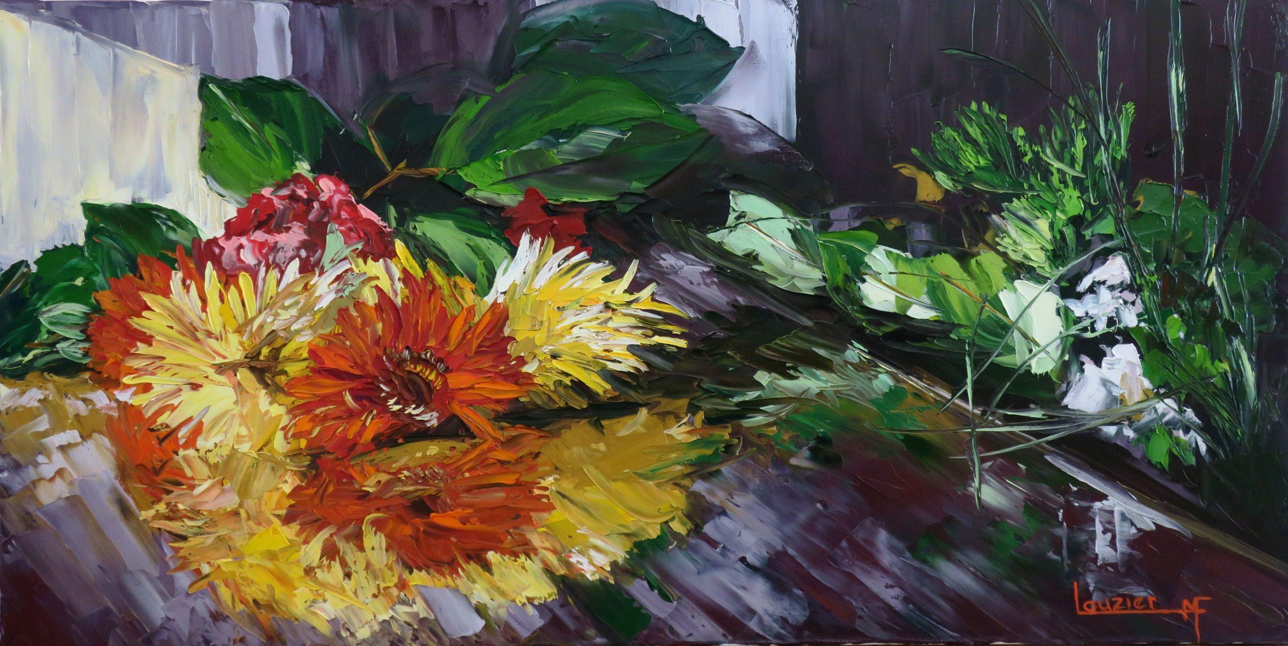 """Toile à l'huile 18""""x36"""" bouquet fleurs rouge et jaune sur table marie-francelauzier"""