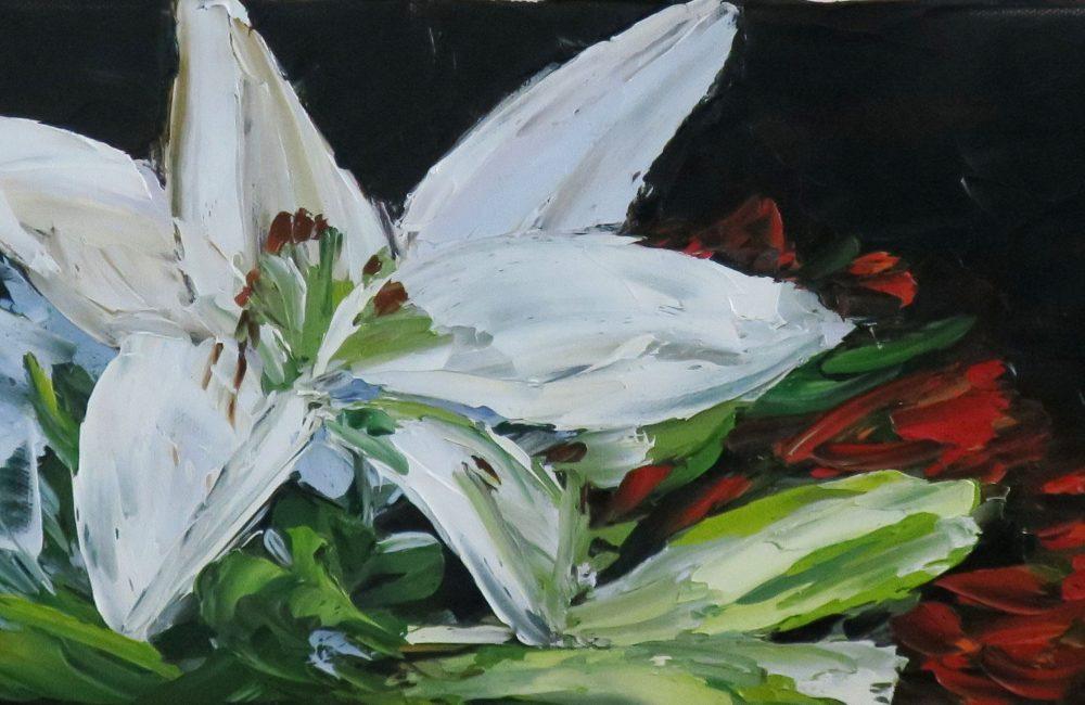 """Toile à l'huile 8""""x16"""" bouquet de fleurs blanches marie-france lauzier"""