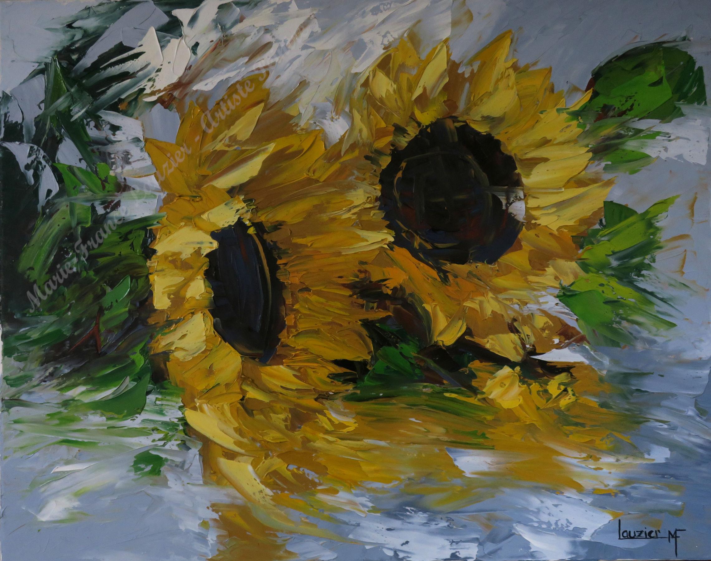 Tournez tournesosls Huile sur toile Marie-France Lauzier - Bouquet de tournesols tournés vers la droite