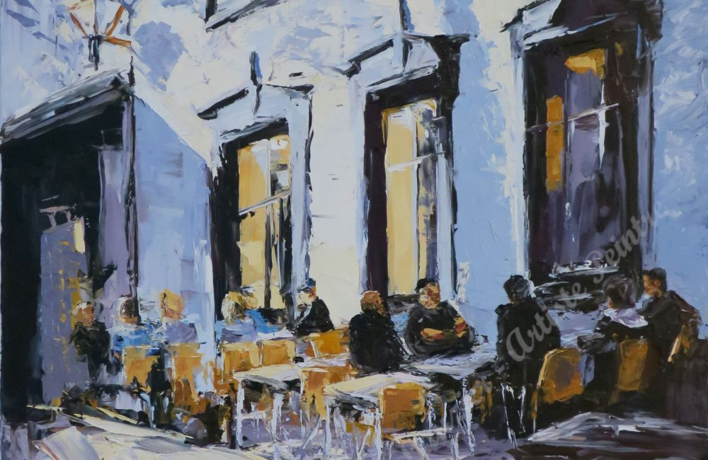 """Un brin de jasette, huile sur toile, 28"""" x 22"""", Marie-France Lauzier, Personnes assises sur une terrasse à l'extérieur fin de journée Ville de Québec"""